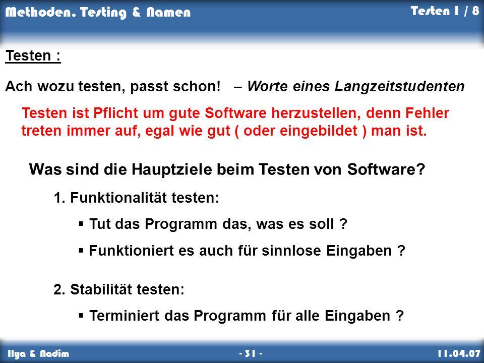 Was sind die Hauptziele beim Testen von Software