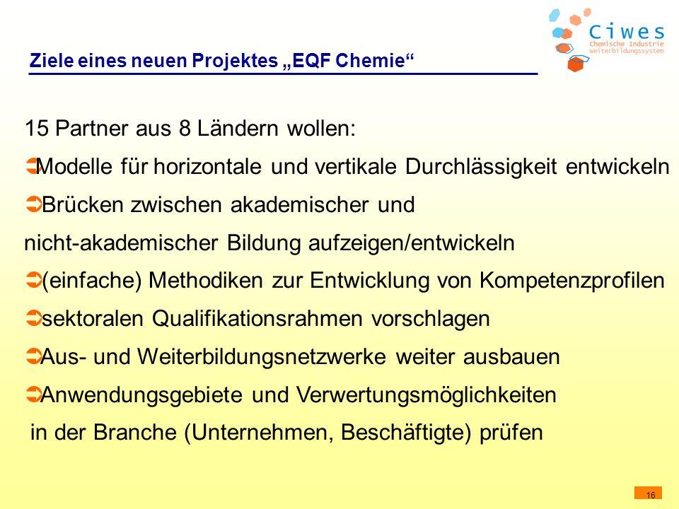 """Ziele eines neuen Projektes """"EQF Chemie"""