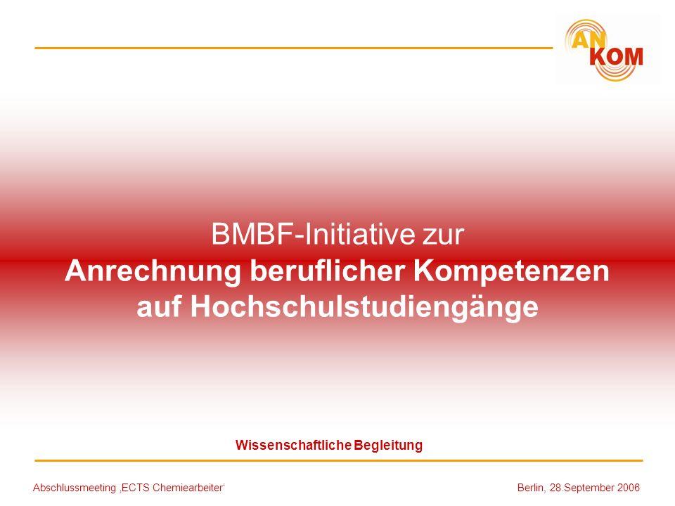 BMBF-Initiative zur Anrechnung beruflicher Kompetenzen auf Hochschulstudiengänge