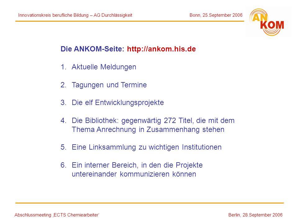 Die ANKOM-Seite: http://ankom.his.de Aktuelle Meldungen