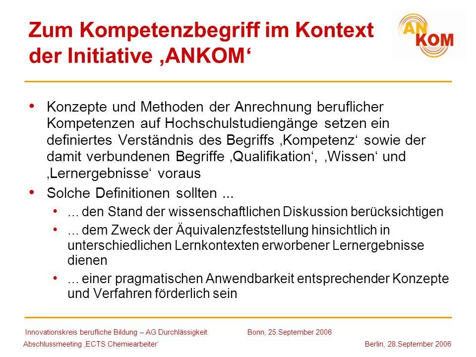 Zum Kompetenzbegriff im Kontext der Initiative 'ANKOM'