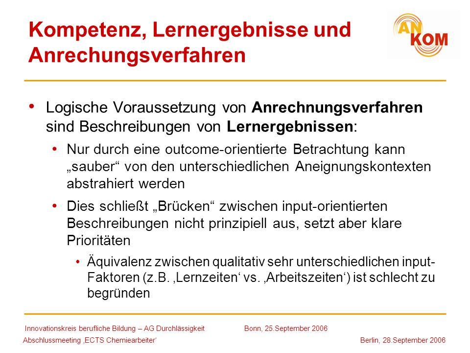Kompetenz, Lernergebnisse und Anrechungsverfahren