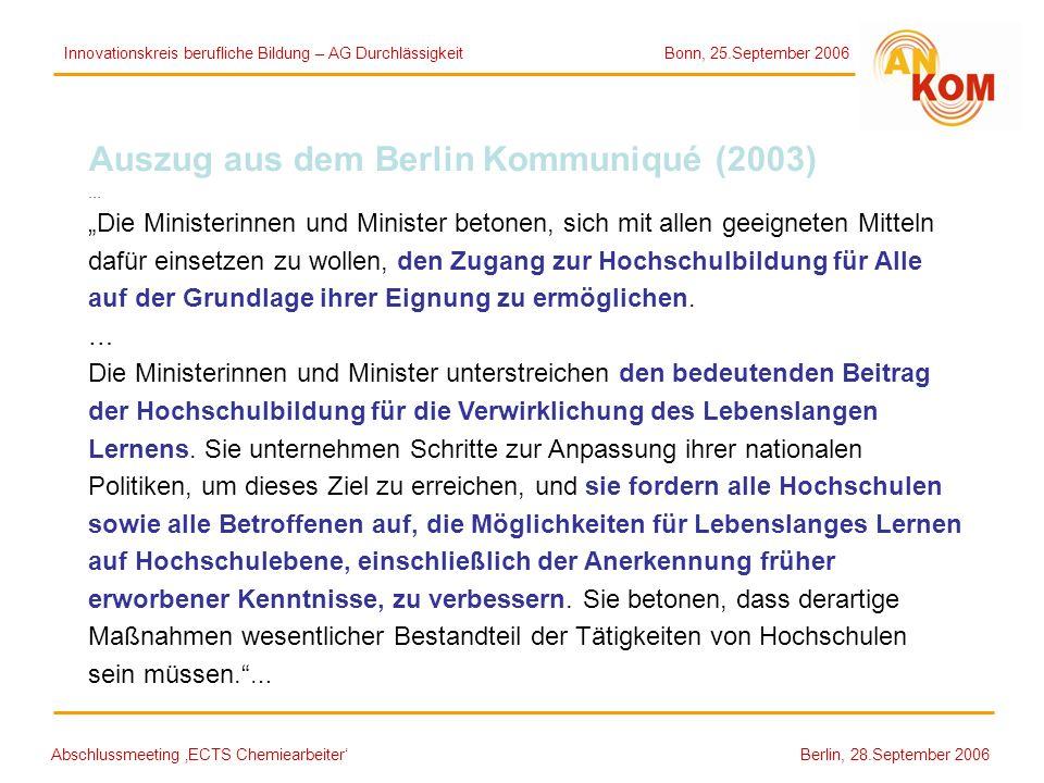Auszug aus dem Berlin Kommuniqué (2003)