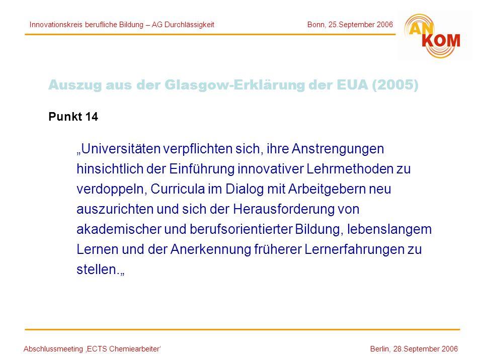 Auszug aus der Glasgow-Erklärung der EUA (2005)