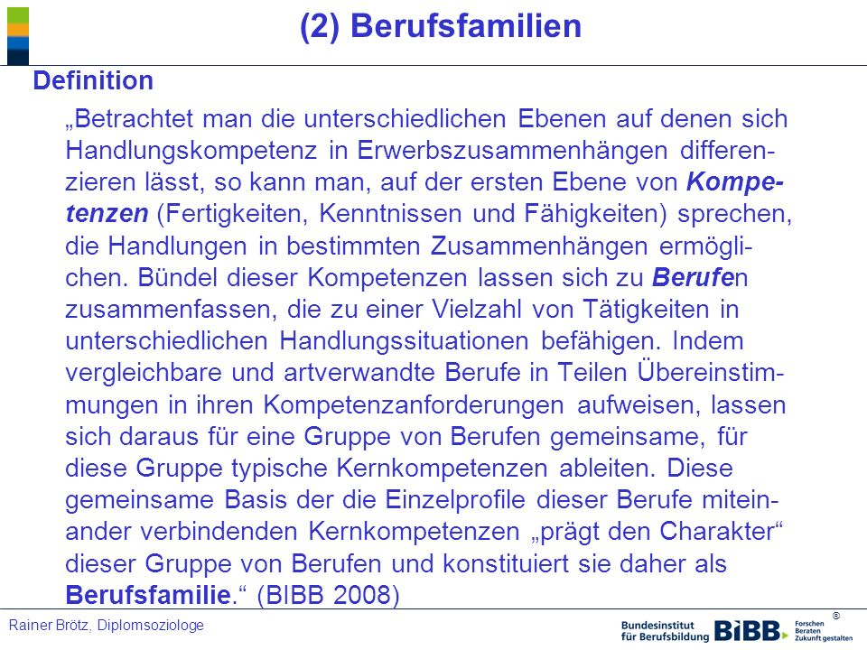 (2) Berufsfamilien Definition