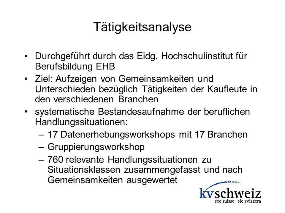 Tätigkeitsanalyse Durchgeführt durch das Eidg. Hochschulinstitut für Berufsbildung EHB.