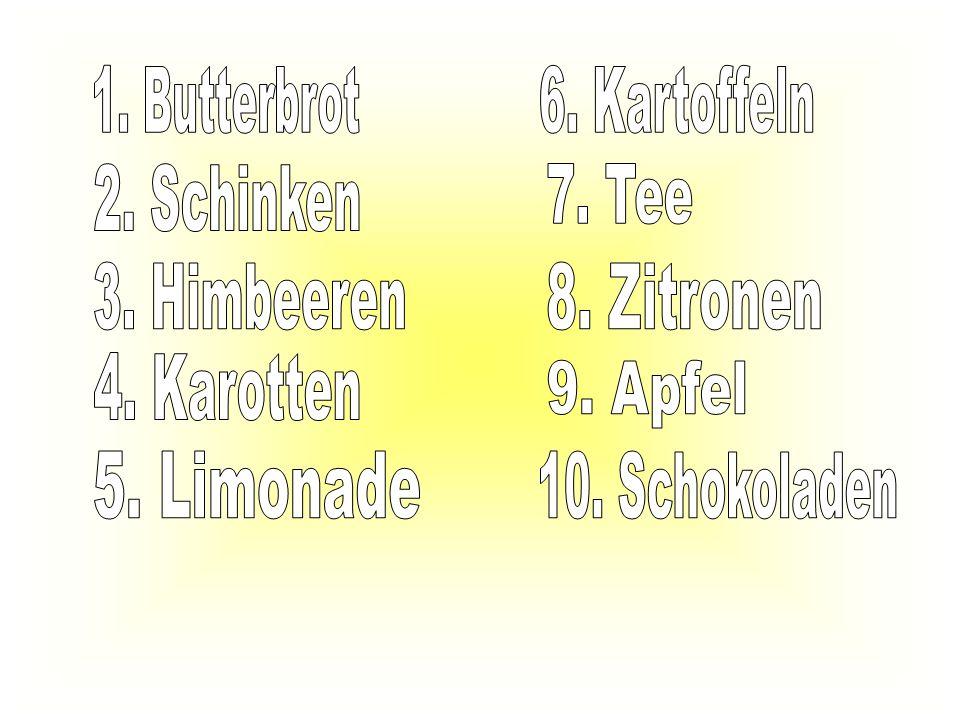 1. Butterbrot 6. Kartoffeln. 2. Schinken. 7. Tee. 3. Himbeeren. 8. Zitronen. 4. Karotten. 9. Apfel.