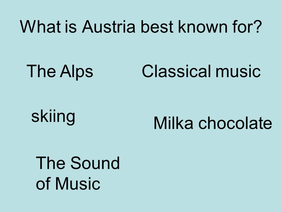 What is Austria best known for