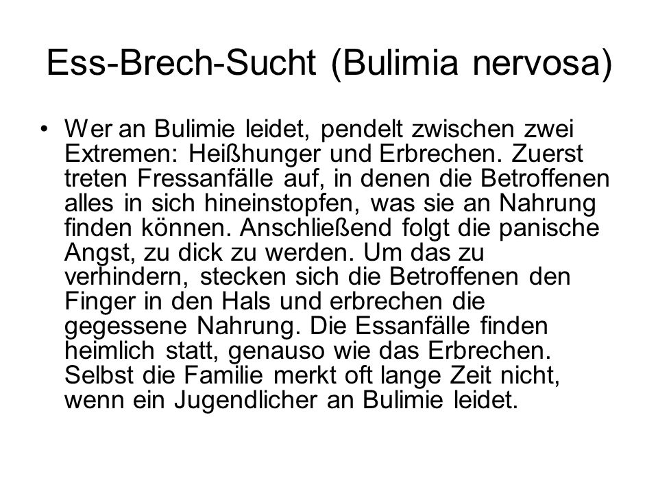 Ess-Brech-Sucht (Bulimia nervosa)