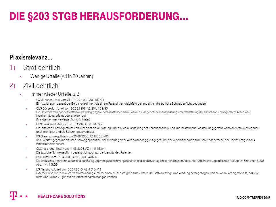 Die §203 StGB Herausforderung…