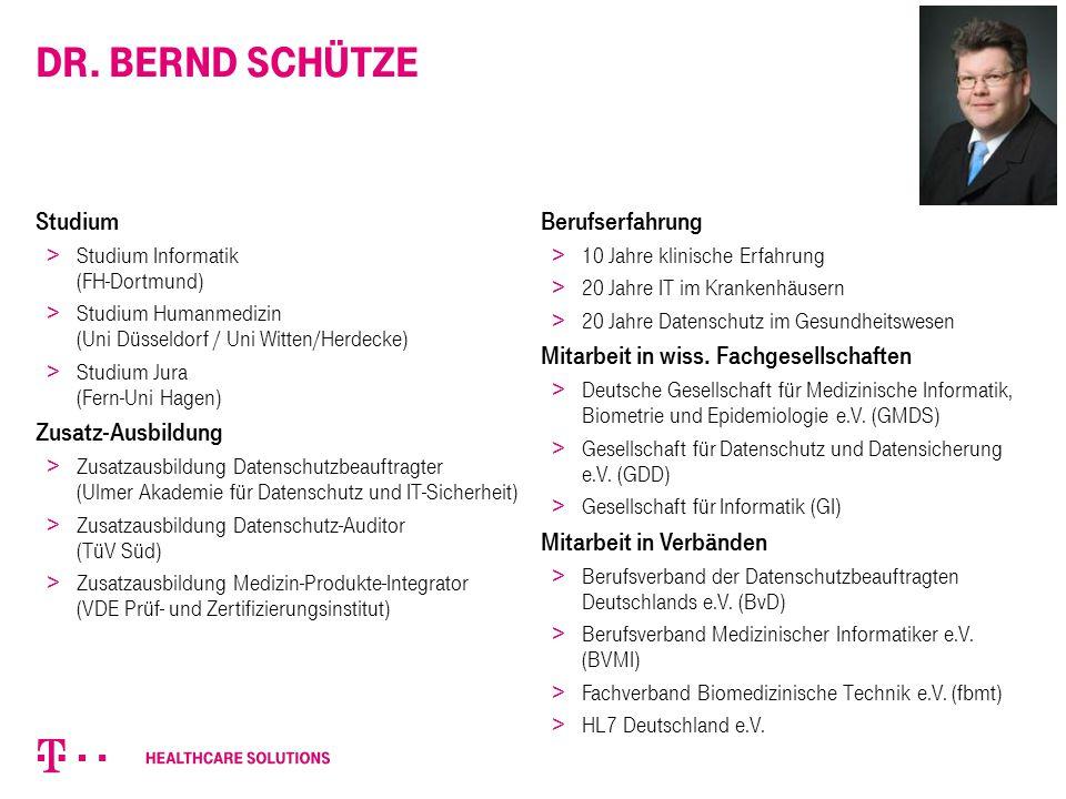 Dr. Bernd Schütze Studium Zusatz-Ausbildung Berufserfahrung