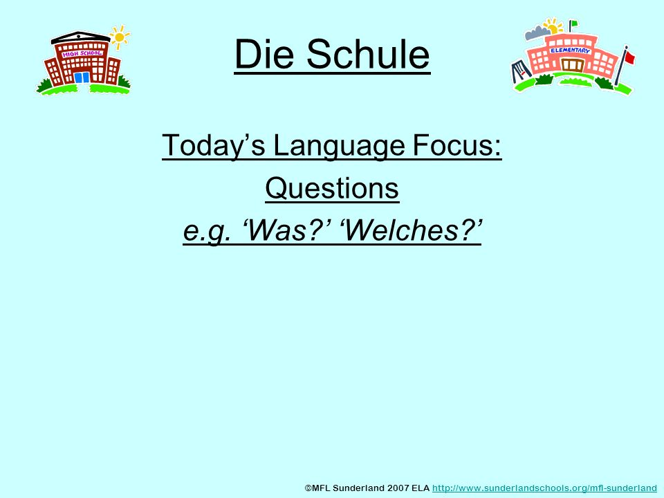 Today's Language Focus: Questions e.g. 'Was ' 'Welches '