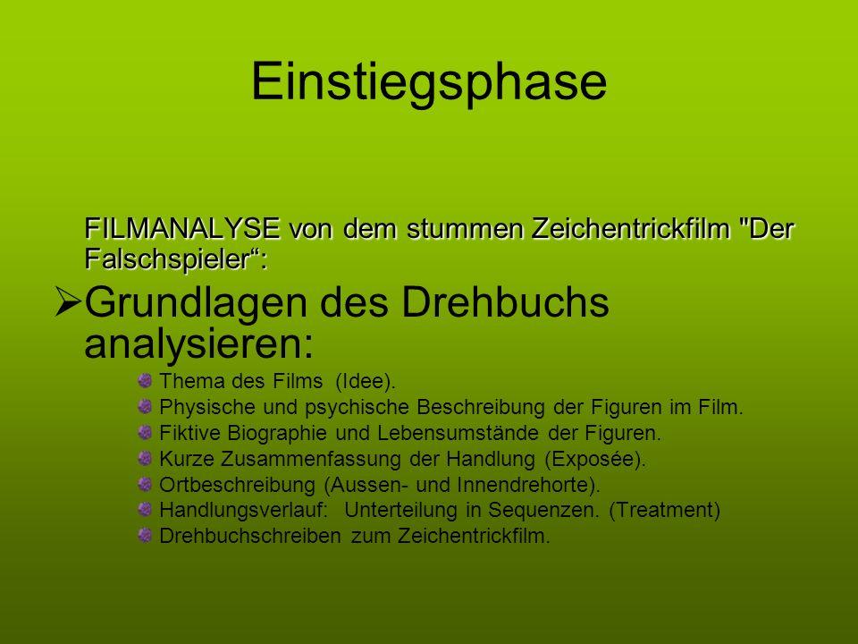 Einstiegsphase FILMANALYSE von dem stummen Zeichentrickfilm Der Falschspieler : Grundlagen des Drehbuchs analysieren: