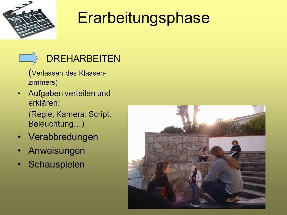 Erarbeitungsphase DREHARBEITEN (Verlassen des Klassen-zimmers)
