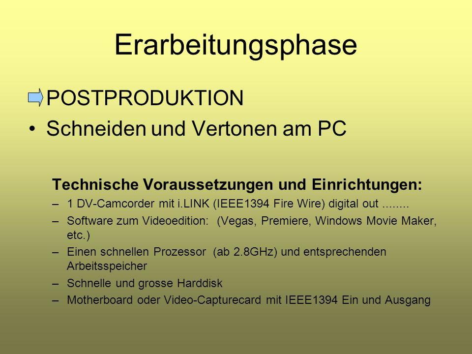 Erarbeitungsphase POSTPRODUKTION Schneiden und Vertonen am PC