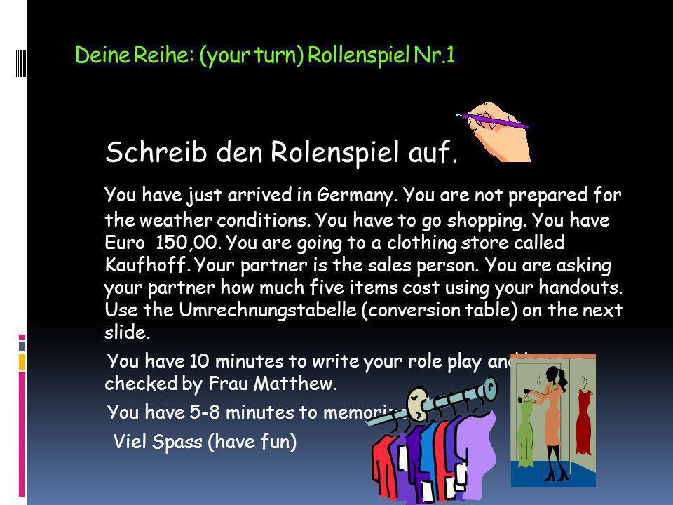 Deine Reihe: (your turn) Rollenspiel Nr.1
