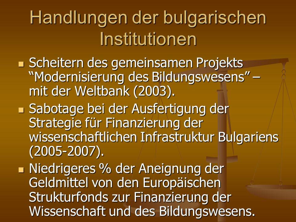Handlungen der bulgarischen Institutionen