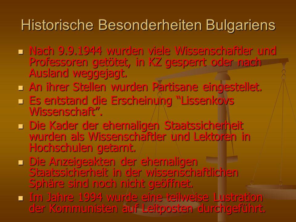 Historische Besonderheiten Bulgariens