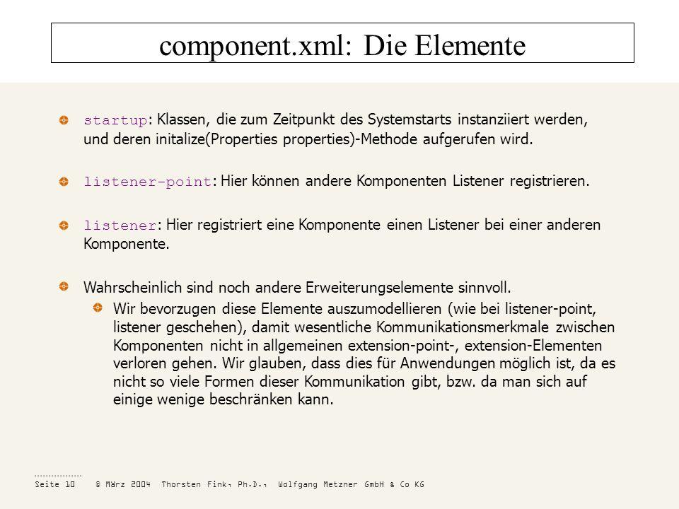 component.xml: Die Elemente