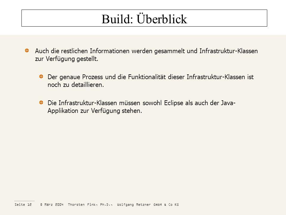 Build: Überblick Auch die restlichen Informationen werden gesammelt und Infrastruktur-Klassen zur Verfügung gestellt.