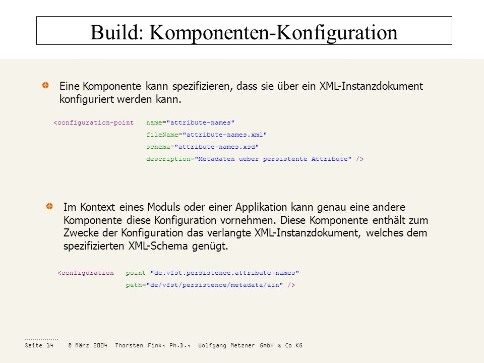 Build: Komponenten-Konfiguration
