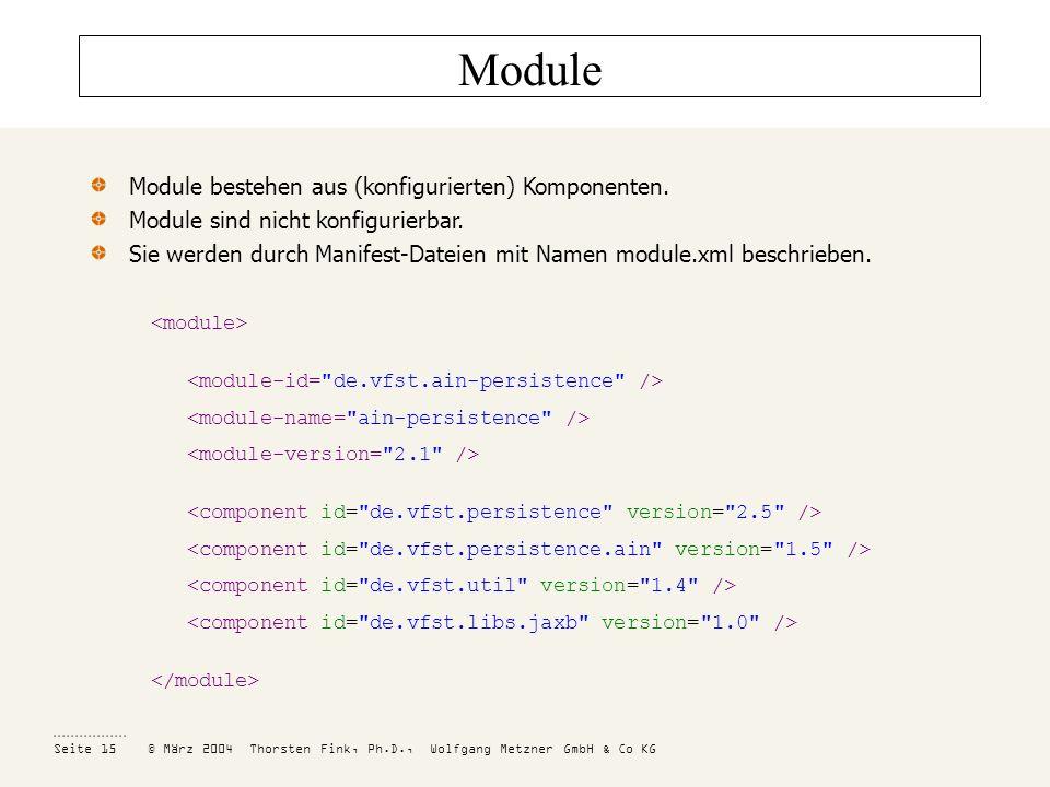 Module Module bestehen aus (konfigurierten) Komponenten.