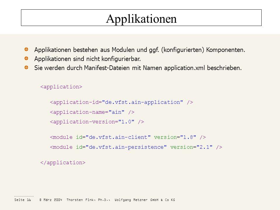 Applikationen Applikationen bestehen aus Modulen und ggf. (konfigurierten) Komponenten. Applikationen sind nicht konfigurierbar.