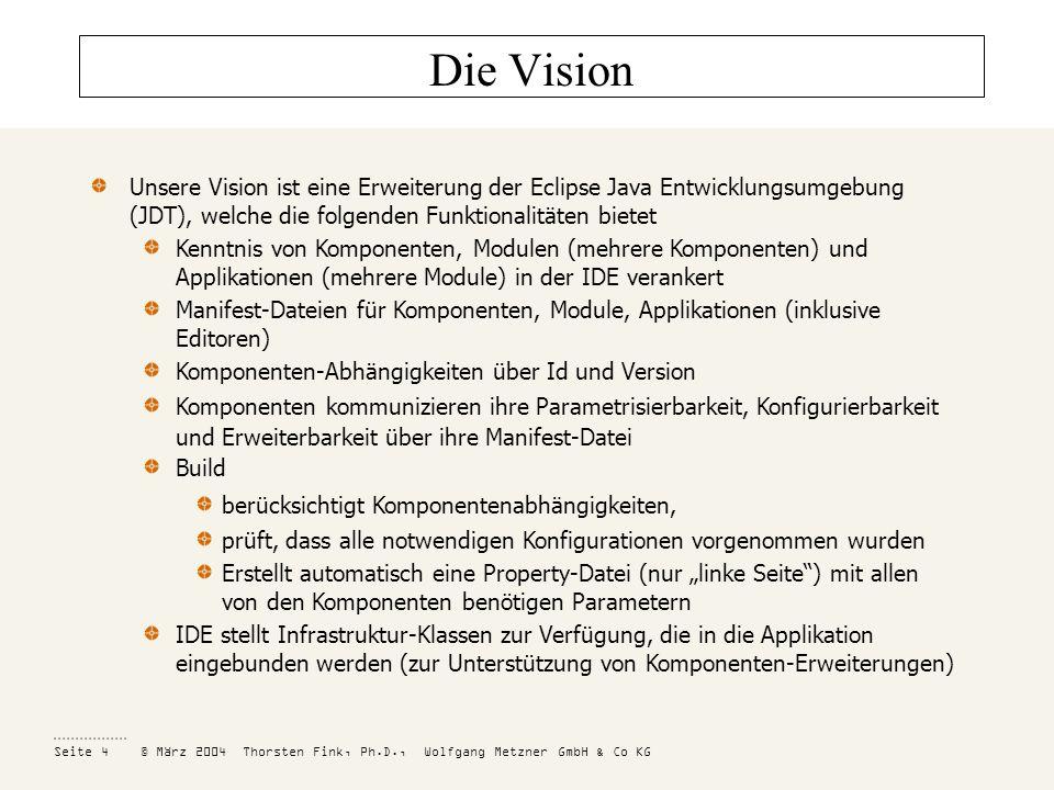 Die Vision Unsere Vision ist eine Erweiterung der Eclipse Java Entwicklungsumgebung (JDT), welche die folgenden Funktionalitäten bietet.