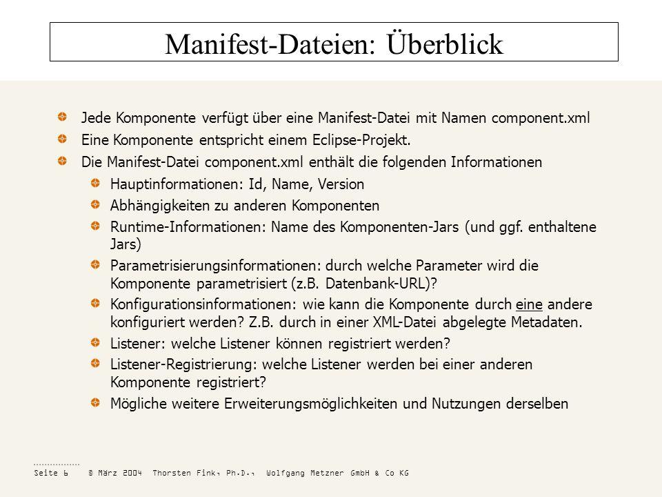Manifest-Dateien: Überblick