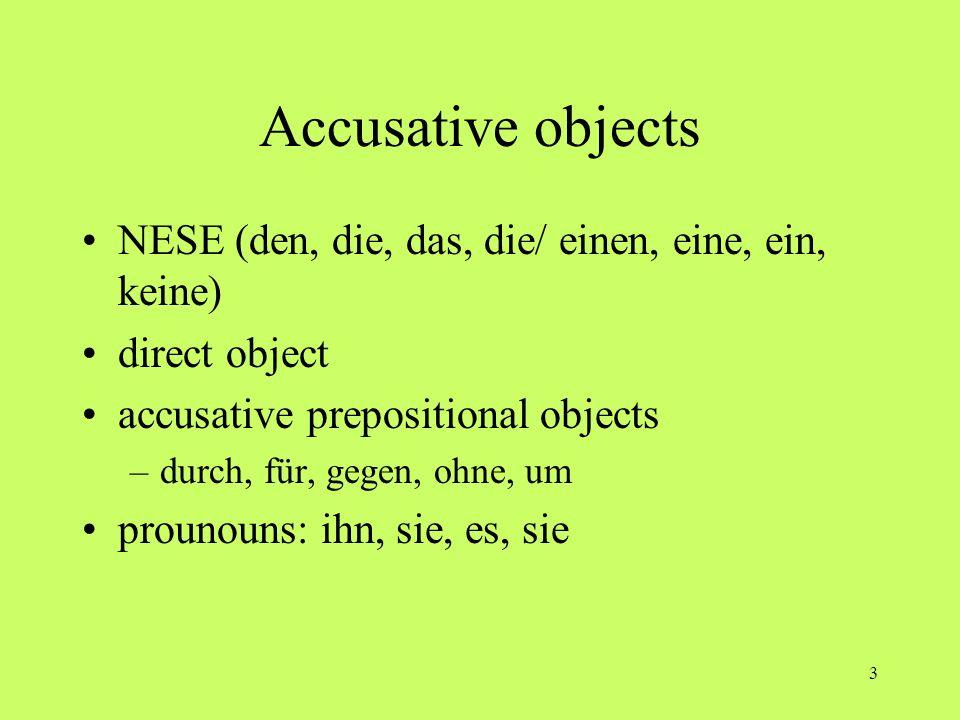 Accusative objects NESE (den, die, das, die/ einen, eine, ein, keine)