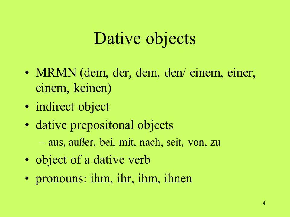 Dative objects MRMN (dem, der, dem, den/ einem, einer, einem, keinen)