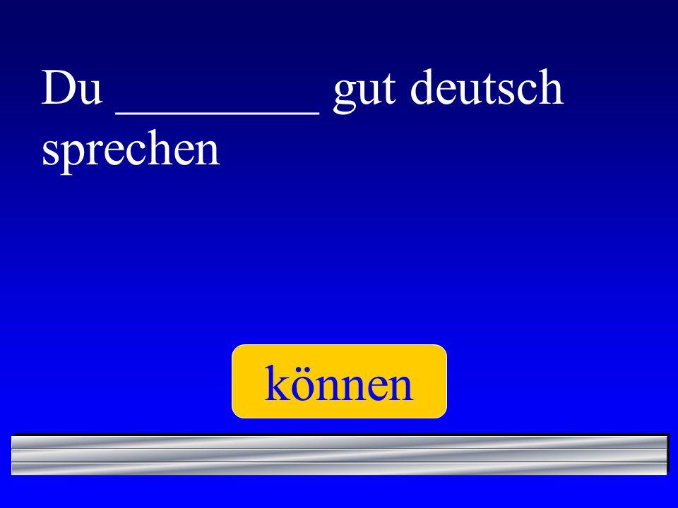 Du ________ gut deutsch sprechen