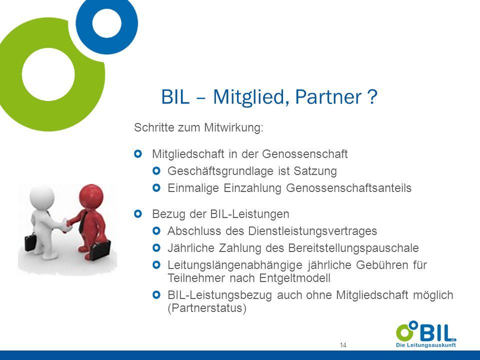 BIL – Mitglied, Partner Schritte zum Mitwirkung: