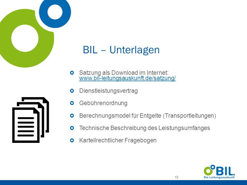 BIL – Unterlagen Satzung als Download im Internet: www.bil-leitungsauskunft.de/satzung/ Dienstleistungsvertrag.