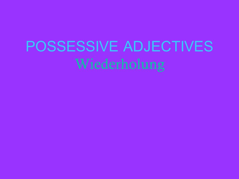 POSSESSIVE ADJECTIVES Wiederholung