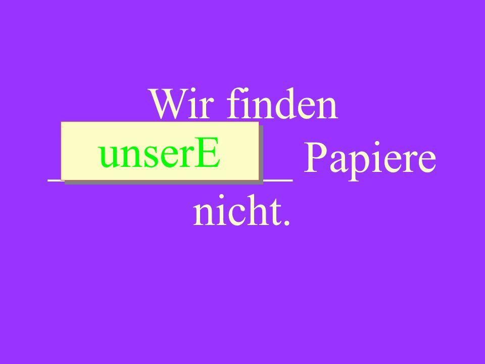 Wir finden ___________ Papiere nicht.