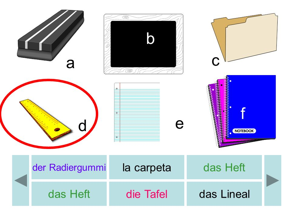 b c a f e d la carpeta das Heft das Heft die Tafel das Lineal