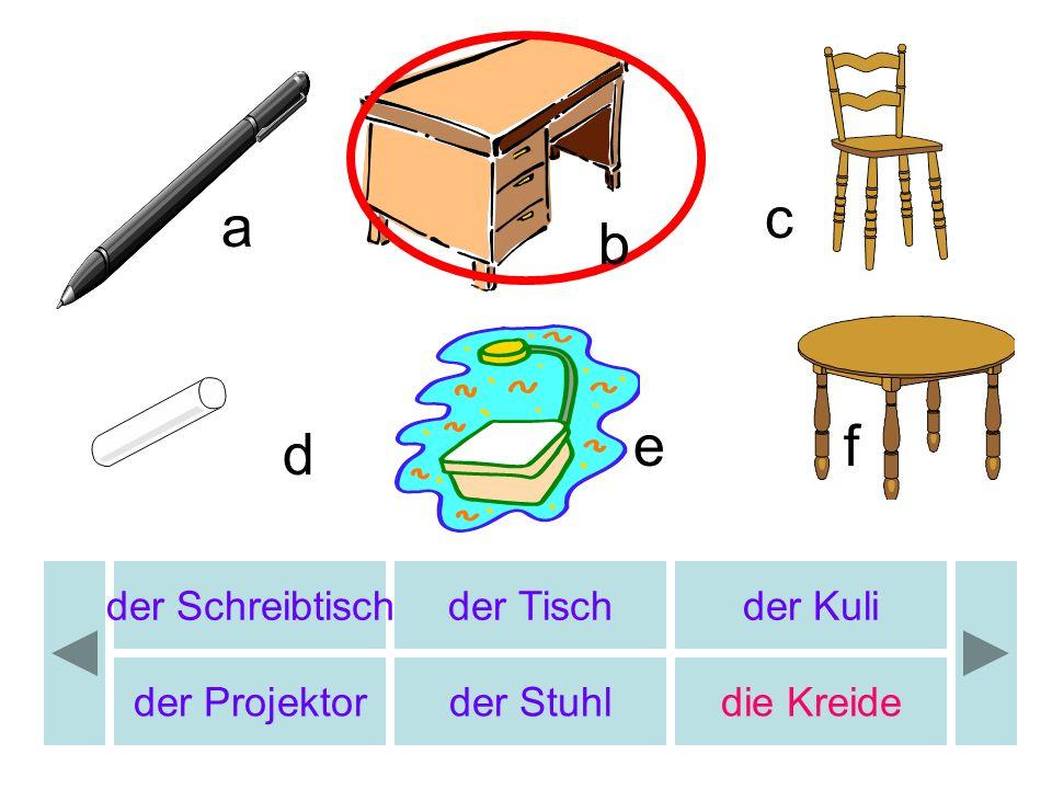 c a b e f d der Schreibtisch der Tisch der Kuli der Projektor
