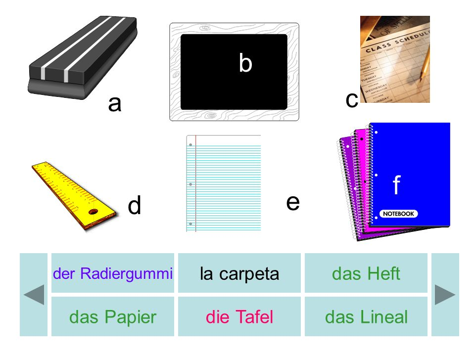 b c a f e d la carpeta das Heft das Papier die Tafel das Lineal