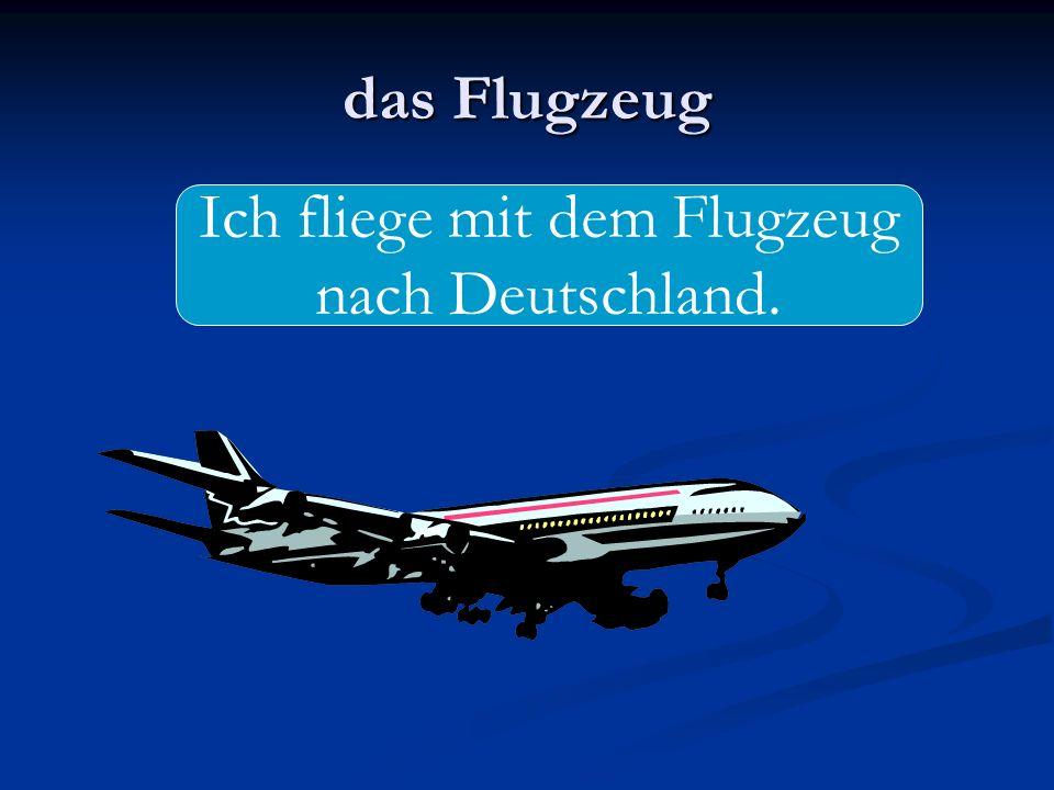 Ich fliege mit dem Flugzeug