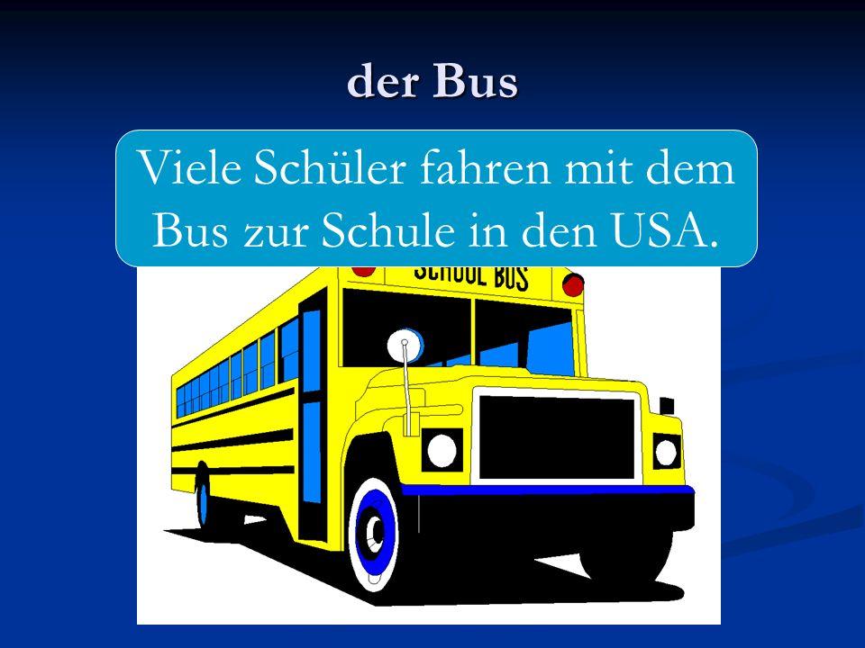 Viele Schüler fahren mit dem Bus zur Schule in den USA.
