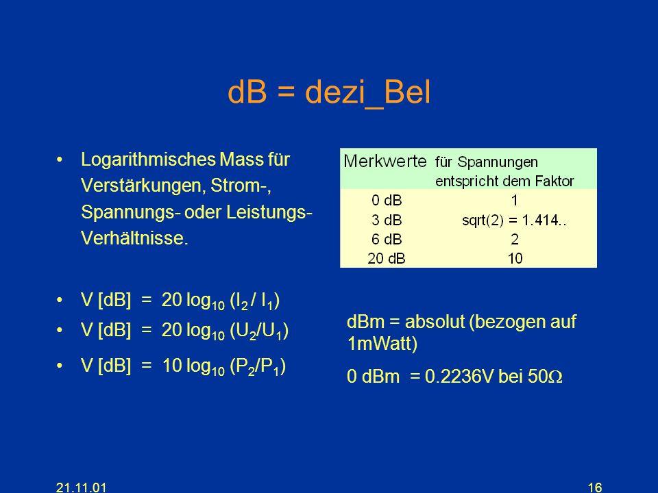 dB = dezi_Bel Logarithmisches Mass für Verstärkungen, Strom-, Spannungs- oder Leistungs- Verhältnisse.