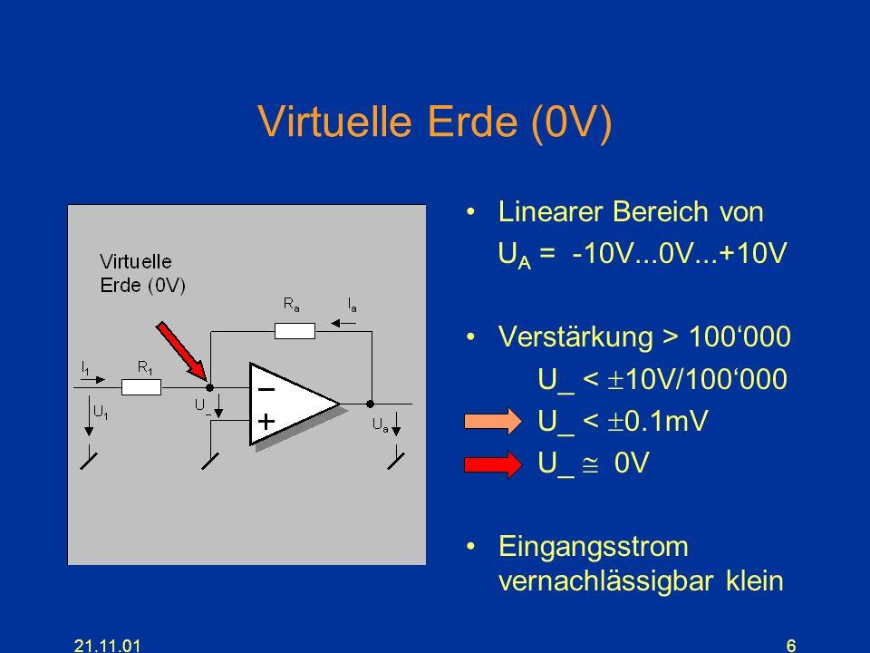Virtuelle Erde (0V) Linearer Bereich von UA = -10V...0V...+10V