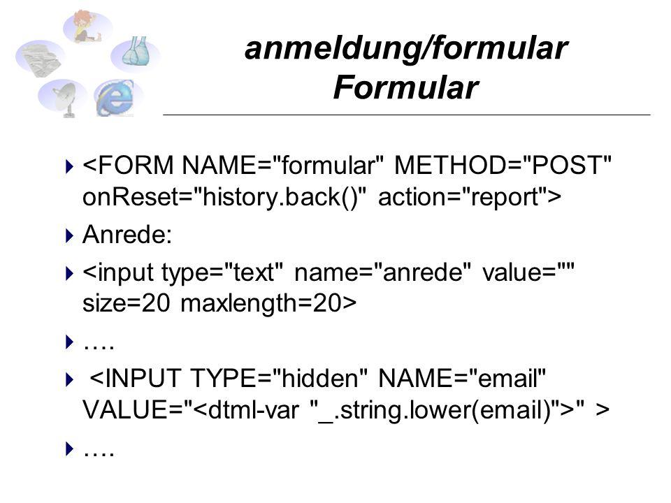 anmeldung/formular Formular