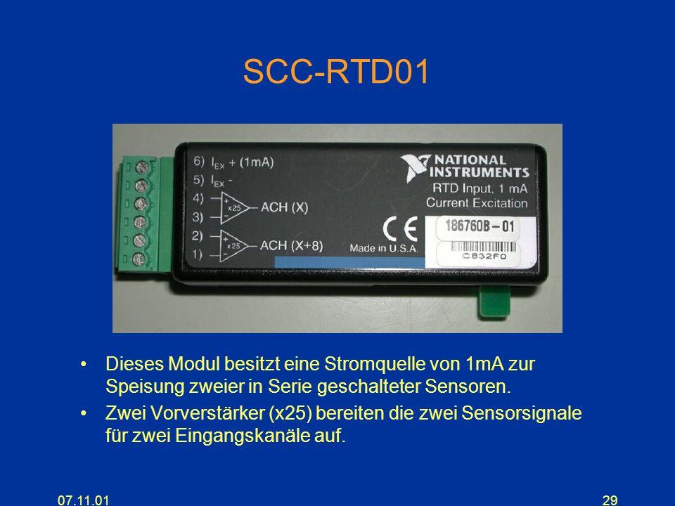 SCC-RTD01Dieses Modul besitzt eine Stromquelle von 1mA zur Speisung zweier in Serie geschalteter Sensoren.