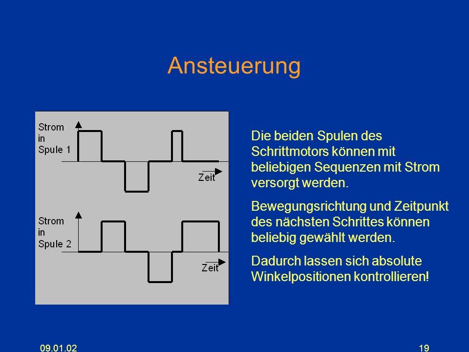 Ansteuerung Die beiden Spulen des Schrittmotors können mit beliebigen Sequenzen mit Strom versorgt werden.