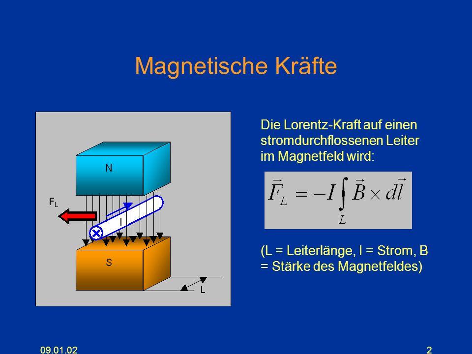 Magnetische Kräfte Die Lorentz-Kraft auf einen stromdurchflossenen Leiter im Magnetfeld wird: