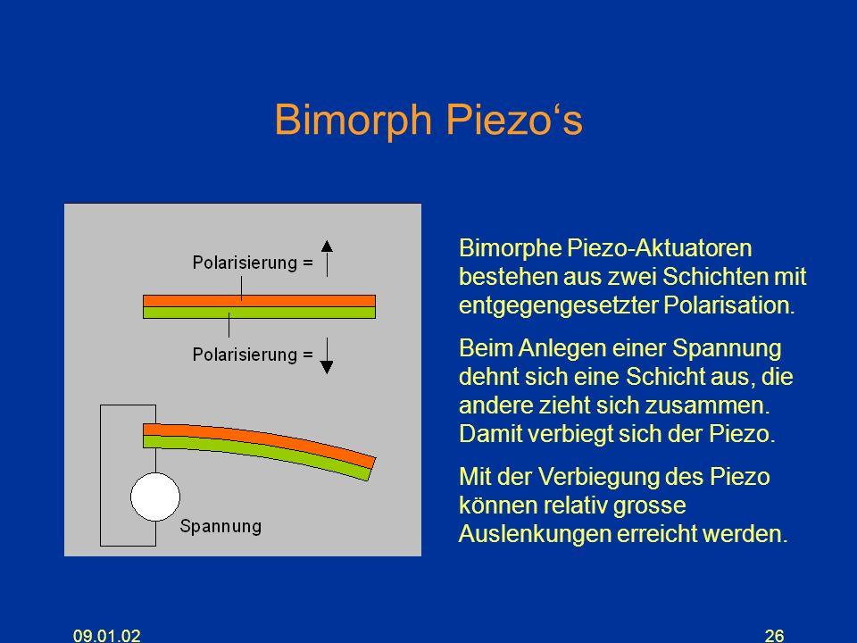 Bimorph Piezo's Bimorphe Piezo-Aktuatoren bestehen aus zwei Schichten mit entgegengesetzter Polarisation.