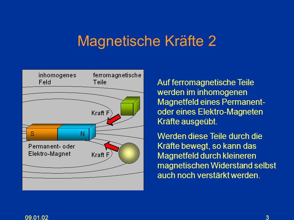 Magnetische Kräfte 2 Auf ferromagnetische Teile werden im inhomogenen Magnetfeld eines Permanent- oder eines Elektro-Magneten Kräfte ausgeübt.