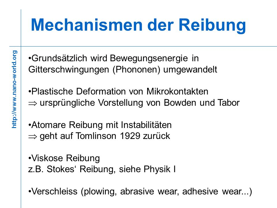 Mechanismen der Reibung